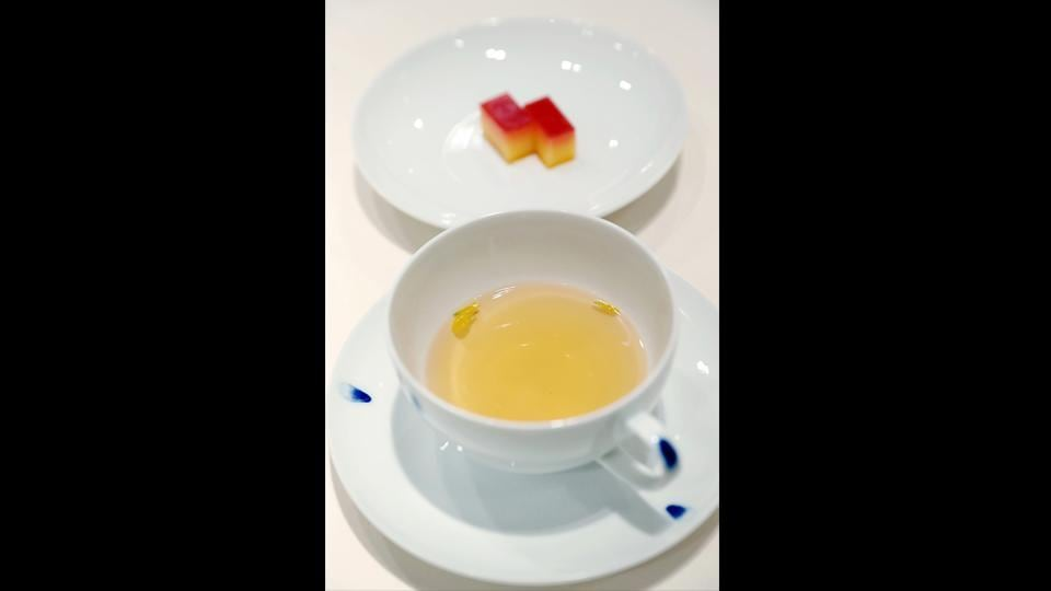 North Korea's mushroom tea and South Korea's tangerine cake, which will be served at the dinner of the inter-Korean summit. The Blue House has a tendency to make political points with its food choices. When US President Donald Trump visited last year, his meal included a prawn fished from the waters around Dokdo, disputed islands controlled by Seoul but claimed by fellow US ally Tokyo. (The Blue House / AFP)