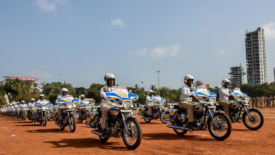 Officers from the Mumbai traffic police rehearse bike stunts for the parade.  (Kunal Patil/HT Photo)