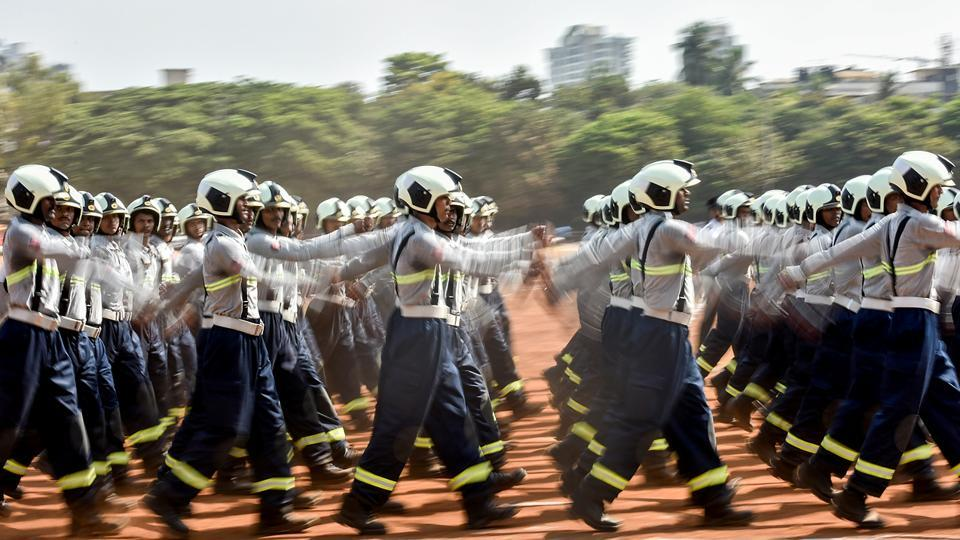 Maharashtra Day is commemorated every year with a parade at Shivaji Park, Dadar. Fire fighter personnel rehearse for the parade. (Kunal Patil/HT Photo)