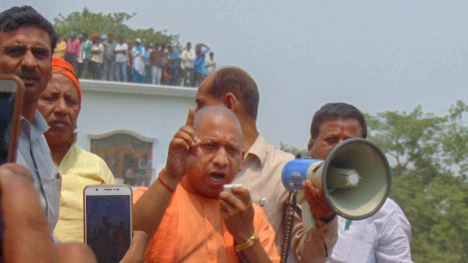 Uttar Pradesh chief minister addresses people in Kushinagar on April 26.