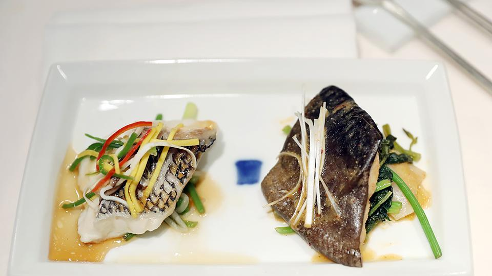 A snapper steak and a catfish steak, which will be served at the dinner of the upcoming summit. Snapper and catfish are Koreans' favourite sea food. Some of the food will come from the North. Moon suggested the North's signature dish of cold buckwheat noodles and Pyongyang agreed to send the head chef from Okryu-gwan, a famed restaurant in the capital city, to the venue. (The Blue House / AFP)