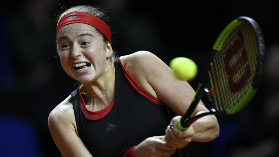 Latvia's Jelena Ostapenko returns the ball to Kazakhstan's Zarina Diyas during their Stuttgart Open match on Thursday.