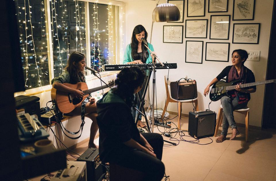 Musician Aditi Ramesh with Ladies Compartment, featuring singer Ramya Pothuri, drummer Aarifah Rebello, violinist Kristen Marea and bassist Nandita V. An EP is in the works.