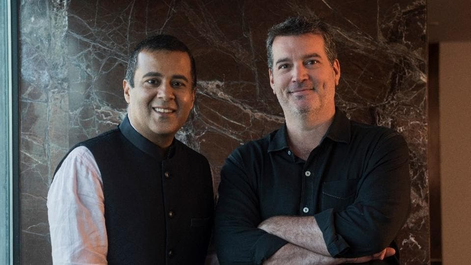 Author Chetan Bhagat (L) with Jeffery Belle (R), vice-president, Amazon Publishing