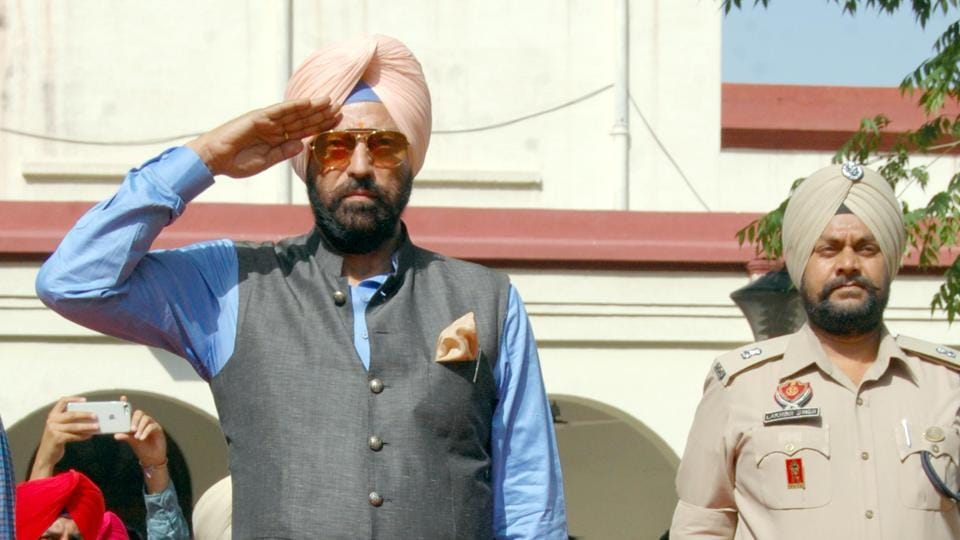 Punjab sports and youth affairs minister Rana Gurmeet Singh Sodhi taking guard of honour in Amritsar on Thursday.