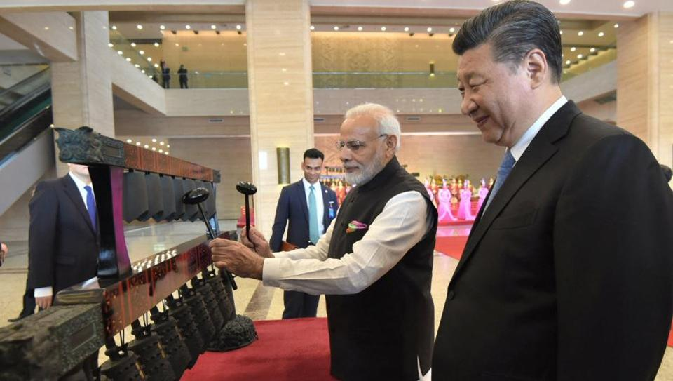 Prime Minister Narendra Modi and Chinese President Xi Jinping visit an exhibition at Hubei Provincial museum in Wuhan, China, on April 27.
