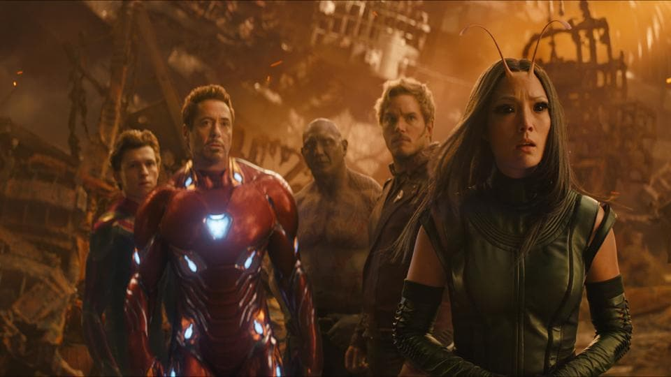 This image released by Marvel Studios shows, from left, Tom Holland, Robert Downey Jr., Dave Bautista, Chris Pratt and Pom Klementieff in a scene from Avengers: Infinity War.