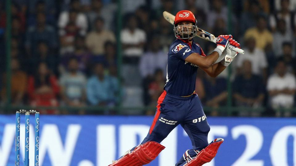 Shreyas Iyer in action during match twenty six of the 2018 Indian Premier League 2018 (IPL 2018) between Delhi Daredevils and Kolkata Knight Riders at the Feroz Shah Kotla Ground, Delhi.