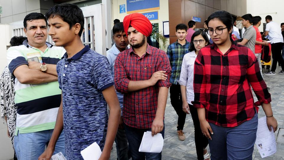 Students coming out after the JEE (Main) at Phase 8 SAS Nagar in Mohali on April 15, 2018.