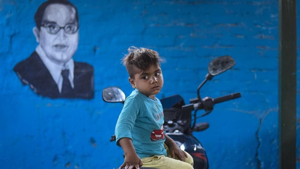 Part of the activity also sought to familiarise residents with the leaders who have shaped India with portraits such as this of B. R. Ambedkar also among pieces rendered on the walls. (Burhaan Kinu / HT Photo)