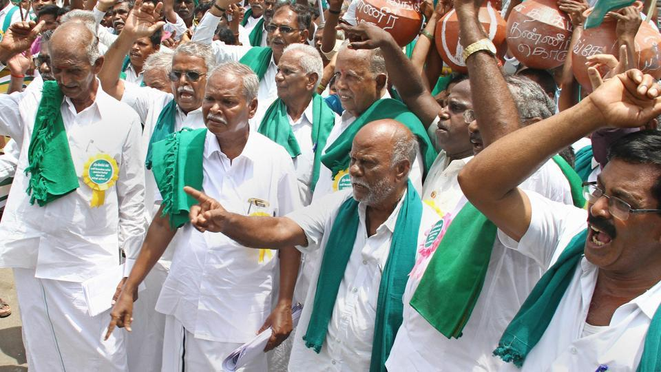 Members of Tamil Nadu Farmers' Association hold a protest demanding formation of Cauvery Water Management Board by the Centre, in Chennai.