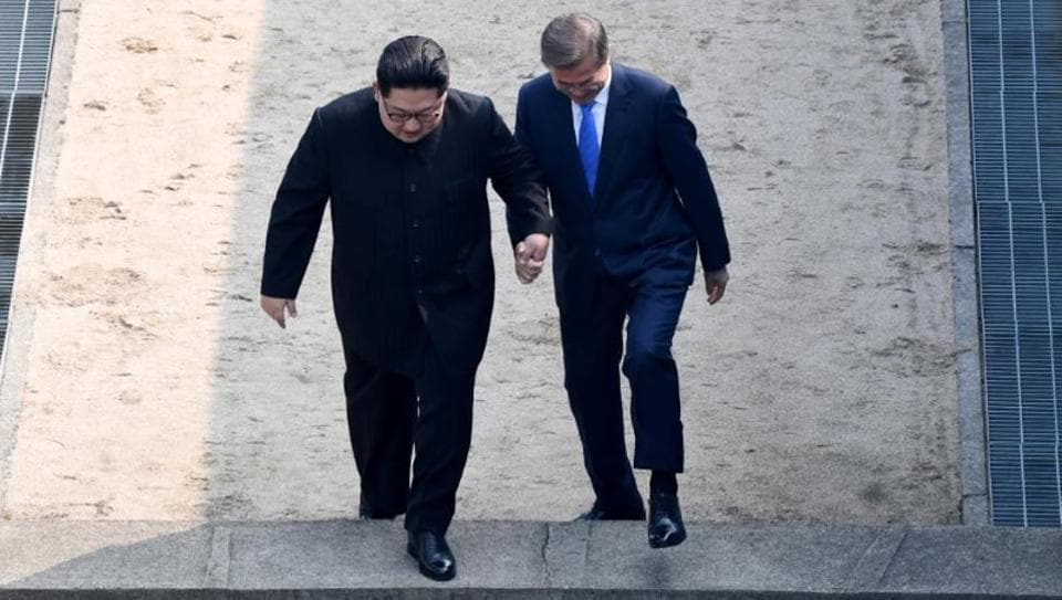 South Korean President Moon Jae-in and North Korean leader Kim Jong Un meet in the truce village of Panmunjom inside the demilitarized zone separating the two Koreas, South Korea on April 27.