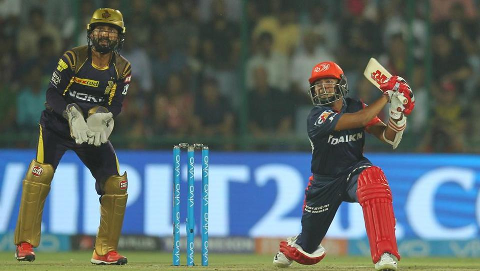 Prithvi Shaw in action during match twenty six of the 2018 Indian Premier League 2018 (IPL 2018) between Delhi Daredevils and Kolkata Knight Riders at the Feroz Shah Kotla Ground, Delhi.
