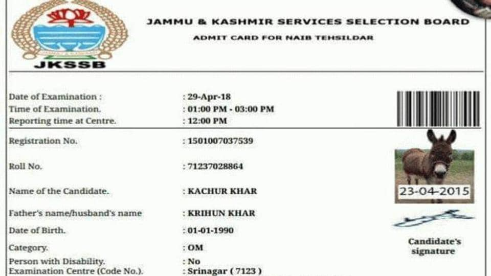"A picture of an admit card reportedly issued by the SSB in the name of ""Kachur Khar"" (brown donkey) went viral on Twitter and Facebook."