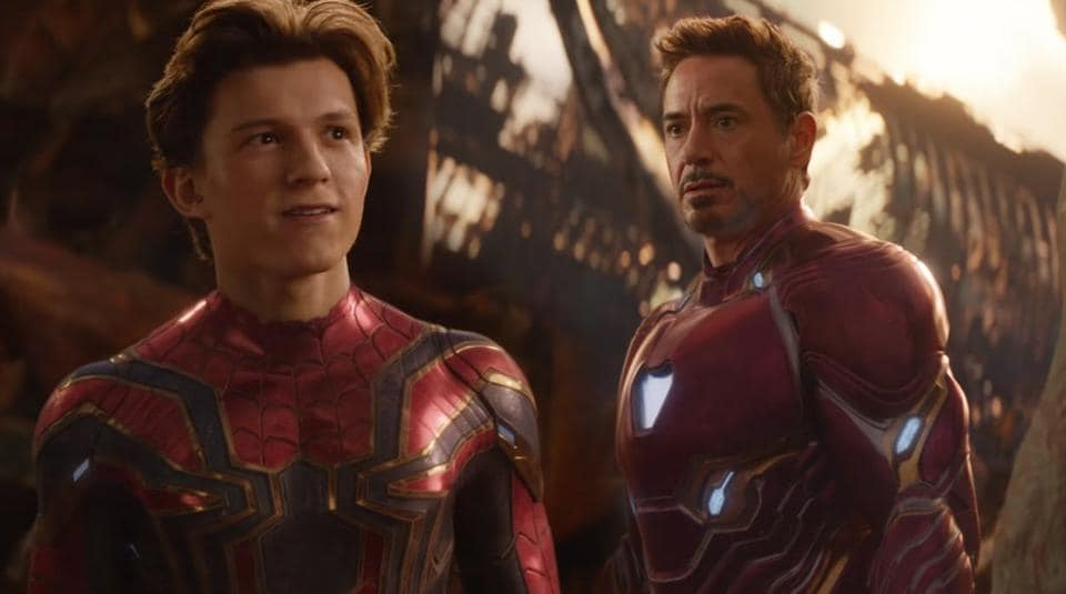 Tom Holland and Robert Downey Jr in a scene from Avengers: Infinity War.