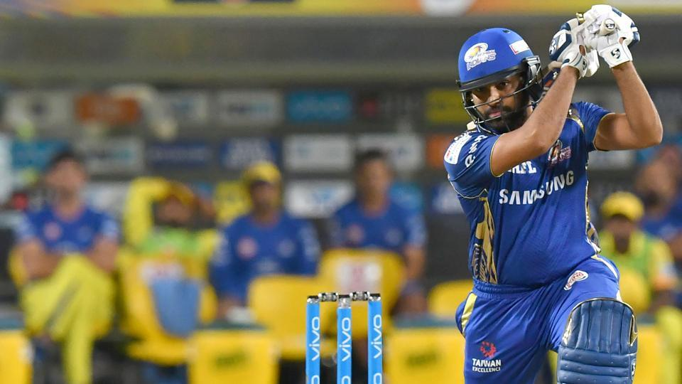 Rohit Sharma in action during the Indian Premier League (IPL) 2018 match between Chennai Super Kings and Mumbai Indians at the MCA International Stadium on Saturday.