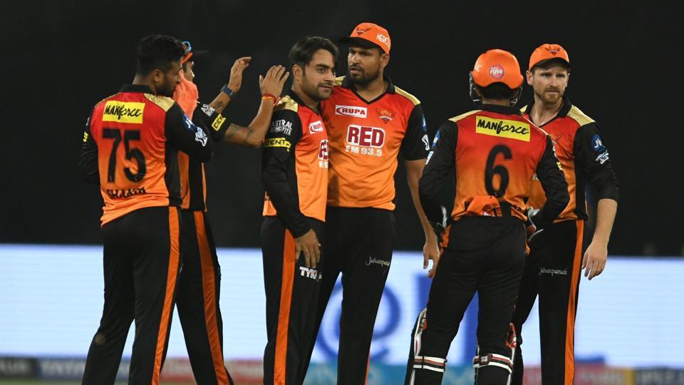 Sunrisers Hyderabad's Rashid Khan (C) has taken nine wickets so far in IPL 2018.