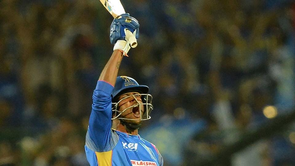Rajasthan Royals batsman K Gowtham celebrates after hitting the winning runs during the 2018 Indian Premier League (IPL 2018) match against Mumbai Indians in Jaipur on April 22.