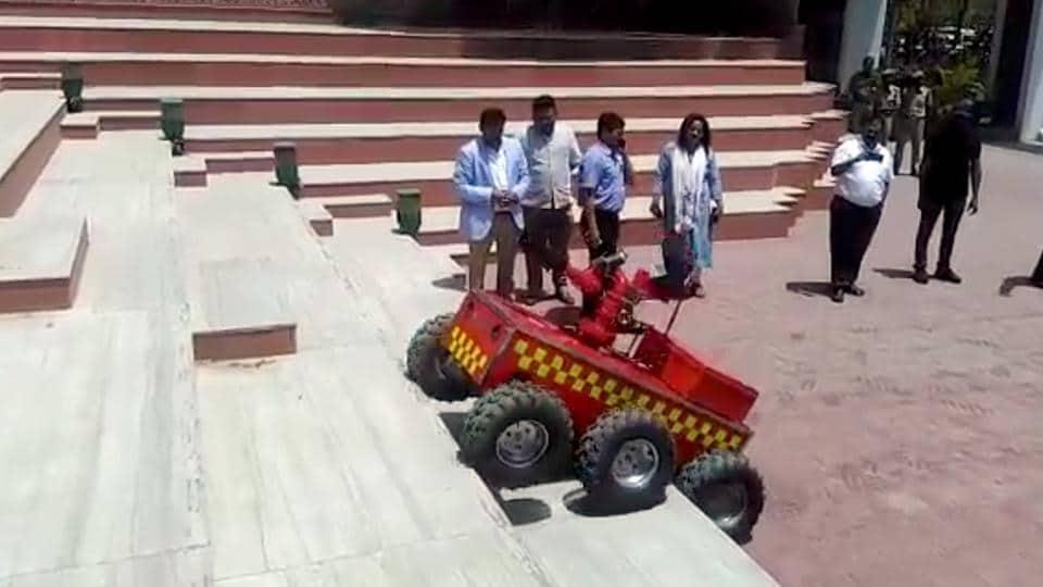 Demonstration of fire robot at the JMC in Jaipur.