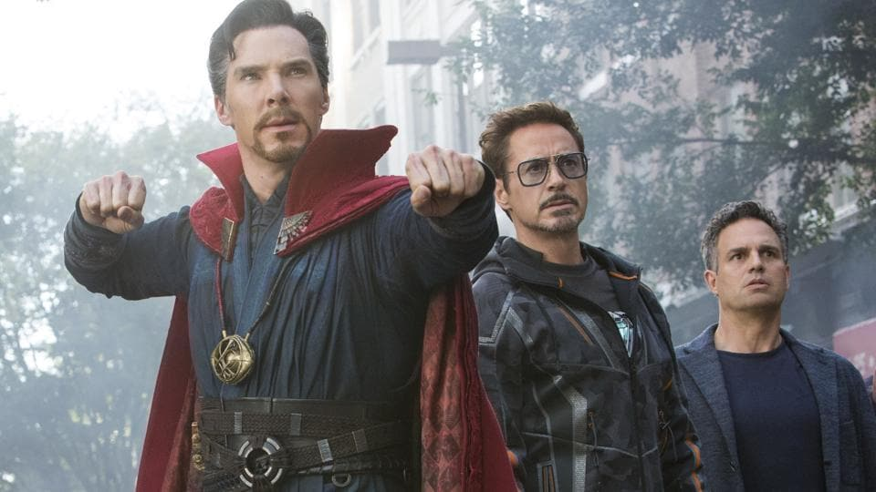 This image released by Marvel Studios shows, from left, Benedict Cumberbatch, Robert Downey Jr., Mark Ruffalo and Benedict Wong in a scene from Avengers: Infinity War.