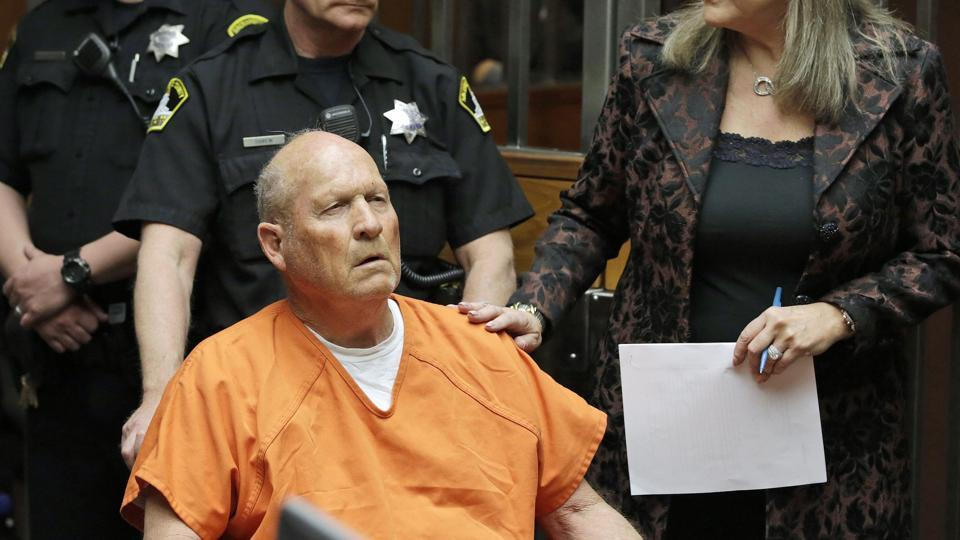 James Joseph DeAngelo, 72, who authorities suspect is the so-called Golden State Killer responsible for at least a dozen murders and 50 rapes in the 1970s and 80s, makes his first appearance on Friday at a court in Sacramento, California.