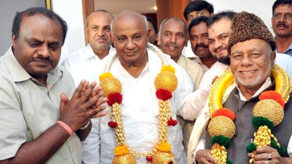 No coalition at the Centre and bypoll losses in last 10 years have pushed HD Deve Gowda's (centre) party JD(S) against the wall.