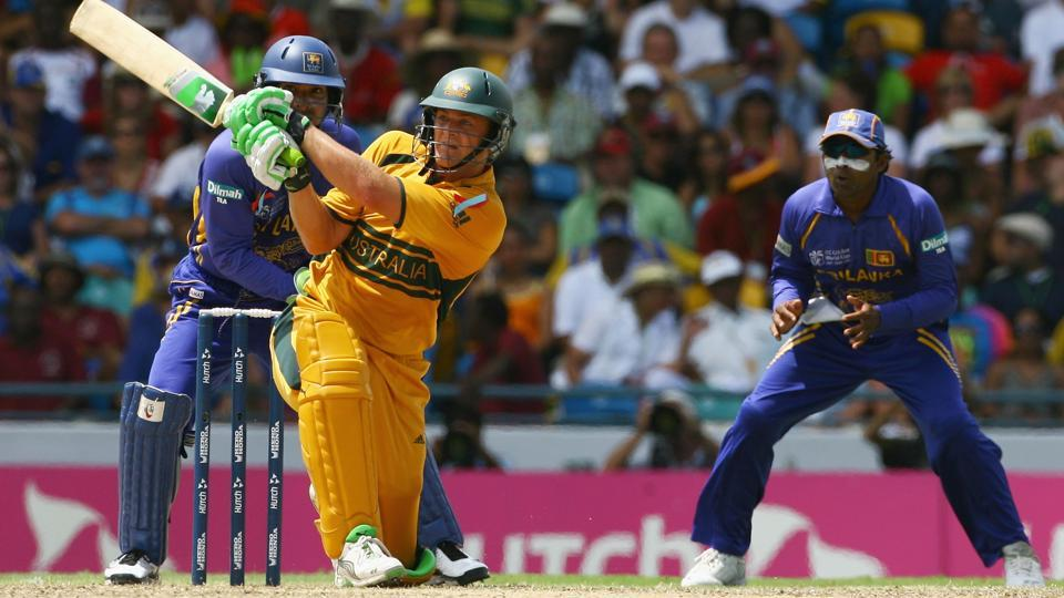 Adam Gilchrist plays a shot in the ICC cricket World Cup final between Australia and Sri Lanka at the Kensington Oval on April 28, 2007 in Bridgetown, Barbados.