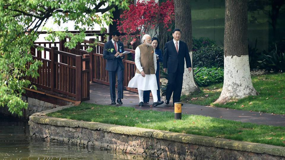 Prime Minister Narendra Modi with Chinese President Xi Jinping take a walk together along the East Lake, in Wuhan, China on April 27.