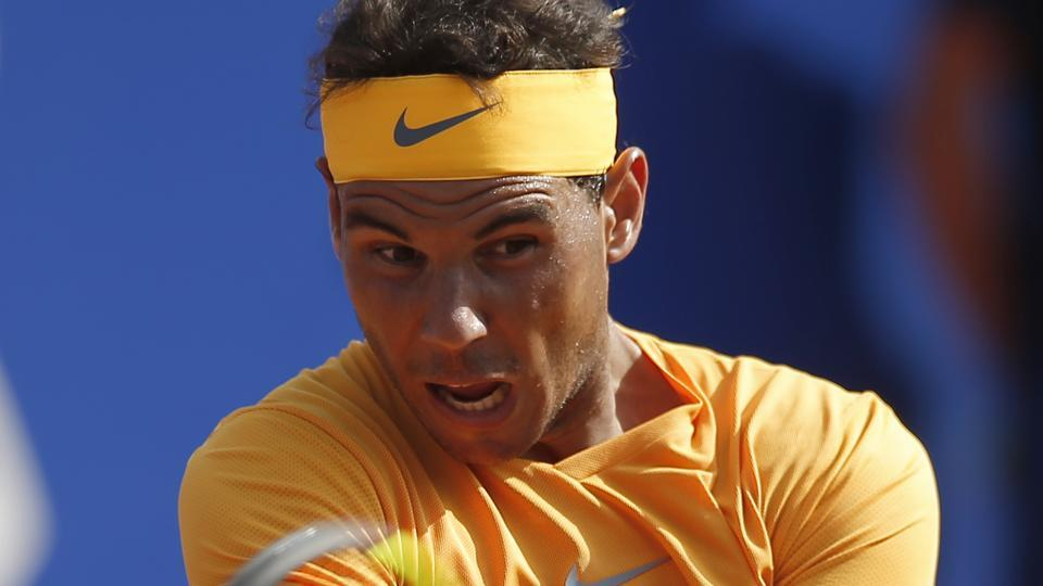 Rafael Nadal of Spain in action during the Barcelona Open tennis tournament.
