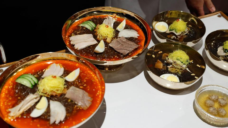 This picture taken on April 27, 2018 shows North Korea's signature dish of cold noodles served by Okryu-gwan, a famed restaurant in Pyongyang, during the official dinner of the inter-Korean summit in the truce village of Panmunjom.
