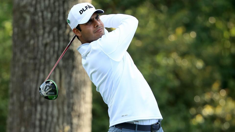 Shubhankar Sharma (in pic) and Arjun Atwal carded a matching four-under 68 to be Tied-25th after the third round of the Volvo China Open in Beijing on Saturday.