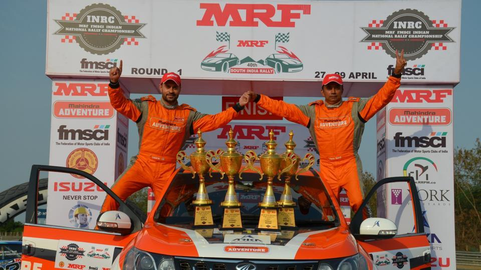 Gaurav Gill celebrates after winning the opening round of Indian National Rally Championship.