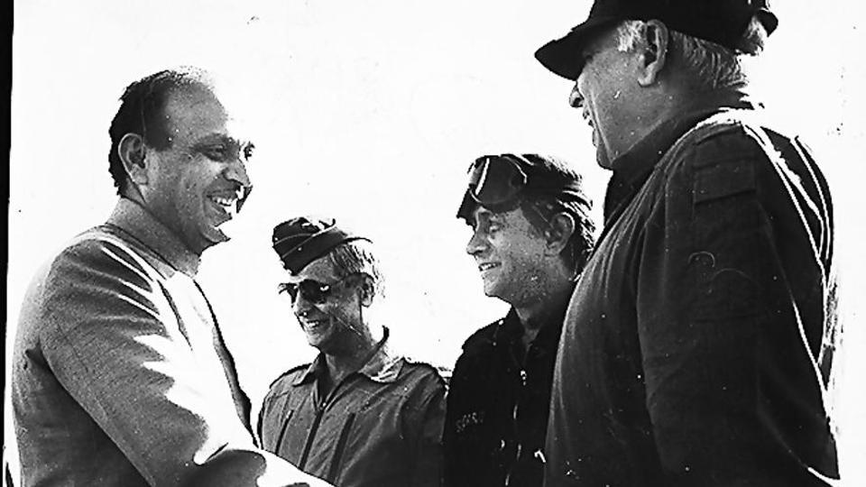 Then defence minister VP Singh greeting the three service chiefs during Operation Brasstacks in 1987.