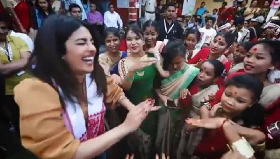 Priyanka Chopra surely needs a few more lessons in Bihu.
