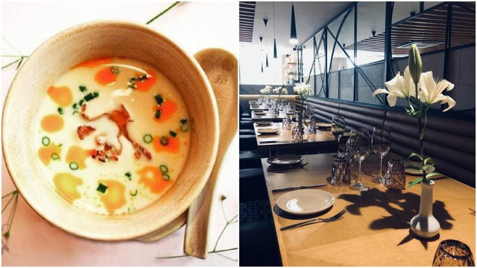 Vietnamese creamy soup and interiors of Kiara Soul Kitchen.