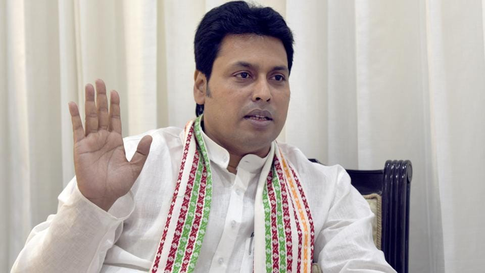 Tripura chief minister Biplab Kumar Deb during an interaction with media at Tripura Bhawan in New Delhi on March 20.