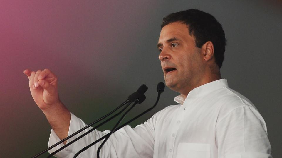 Congress President  Rahul Gandhi at the Jan Aakrosh Rally in New Delhi on Sunday.