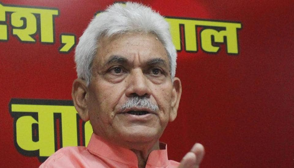 Union minister of state for communication (independent charge) Manoj Sinha interacts with the media in Bhopal.