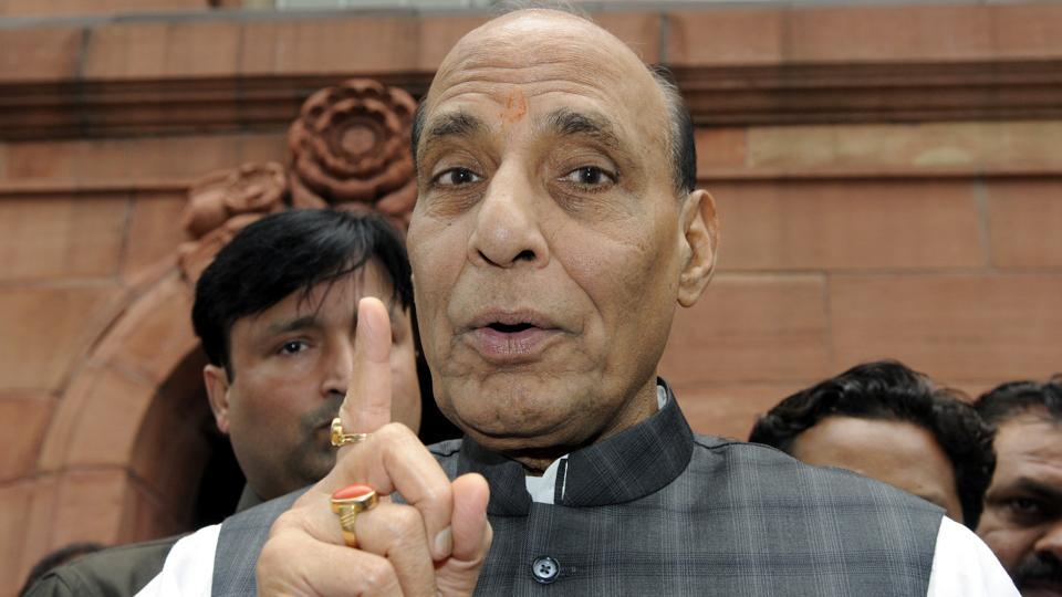 Union home minister Rajnath Singh at the Parliament in New Delhi on August 06, 2015.