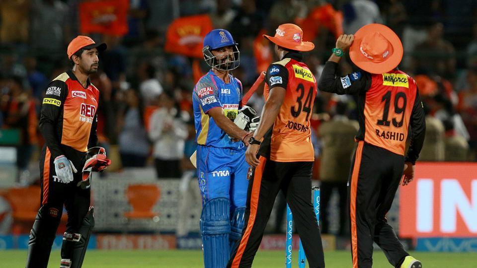 Sunrisers Hyderabad (SRH) registered a thrilling 11 run win vs Rajasthan Royals (RR) in an IPL 2018 match at Jaipur on Sunday.   (BCCI)