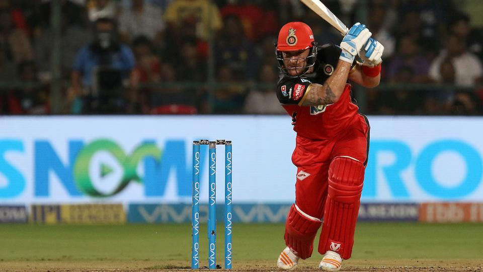 Brendon McCullum of the Royal Challengers Bangalore plays a shot against Kolkata Knight Riders in an Indian Premier League (IPL) 2018 at the M. Chinnaswamy Stadium in Bangalore on Sunday.
