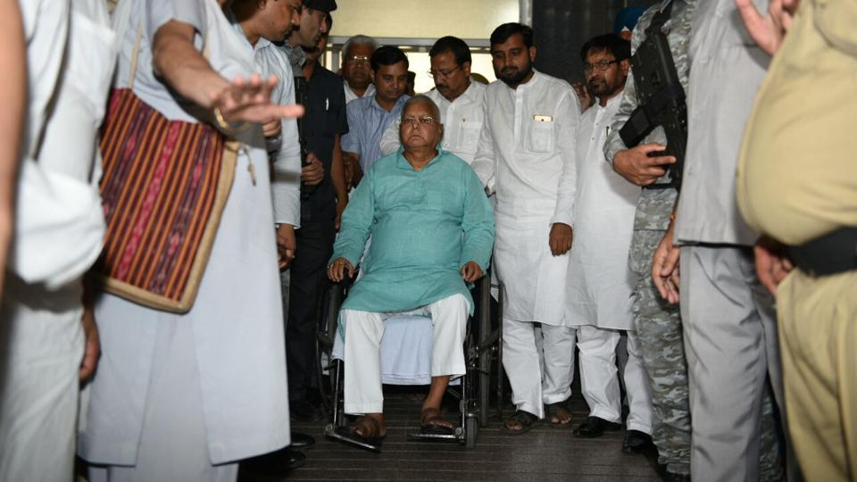 RJD chief Lalu Yadav after being discharged from AIIMS in Delhi.