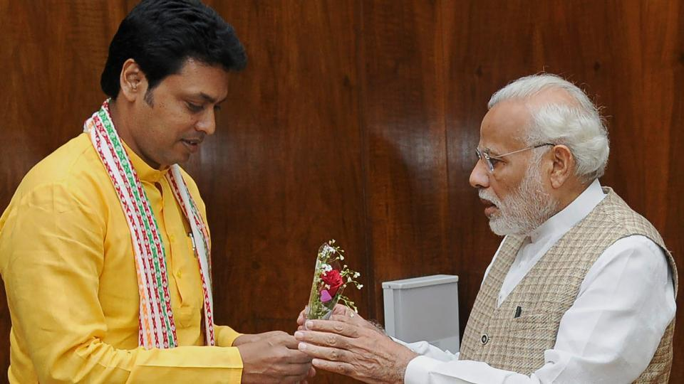 Tripura chief minister Biplab Kumar Deb called on Prime Minister Narendra Modi at Parliament House in New Delhi on march 19.