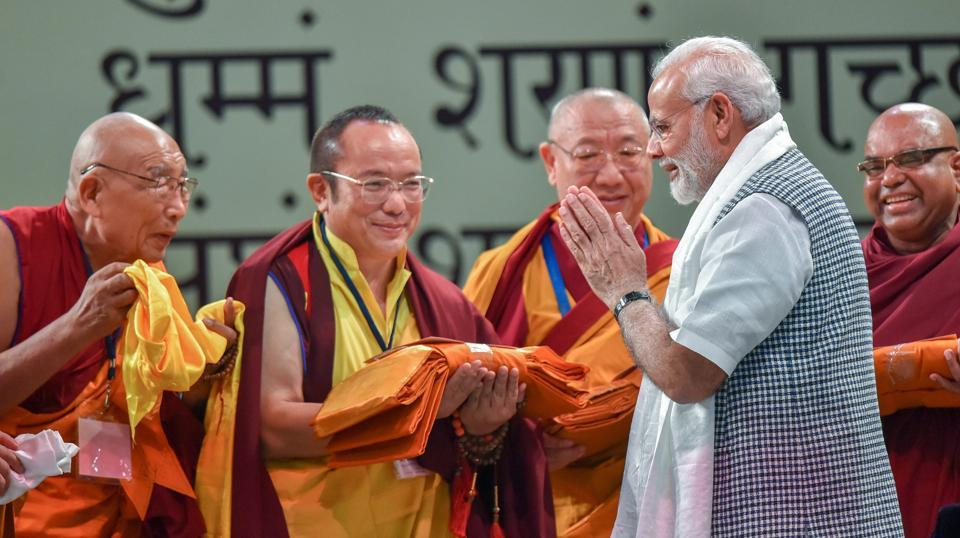 Prime Minister Narendra Modi launches Buddha Jayanti celebrations organised by the Ministry of Culture in collaboration with the International Buddhist Confederation (IBC) in New Delhi on Monday.