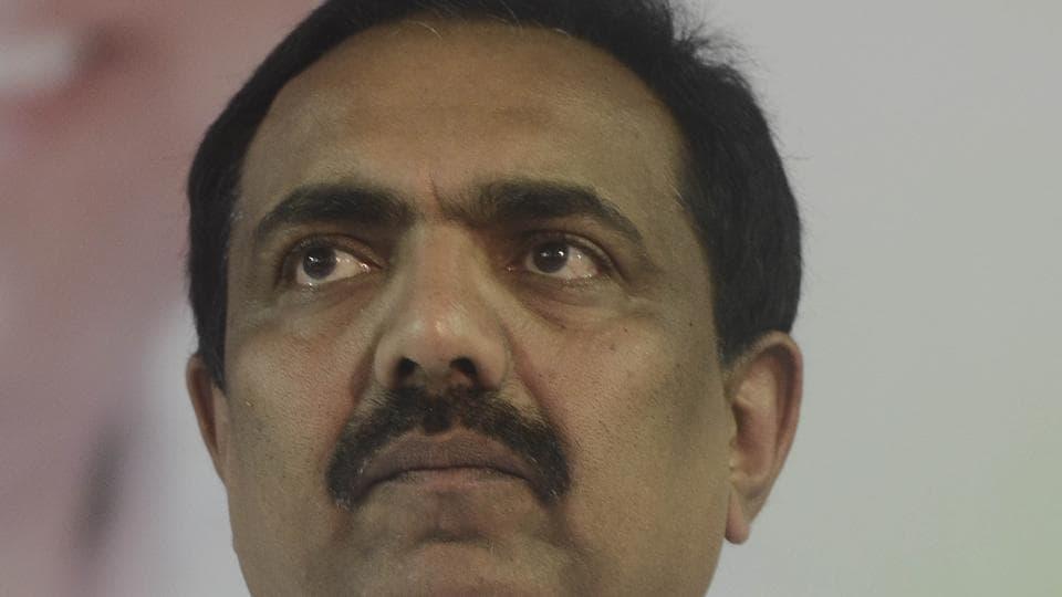 Jayant Patil at the Nationalist Congress Party meet at Nisarg mangal karyalay on Sunday.