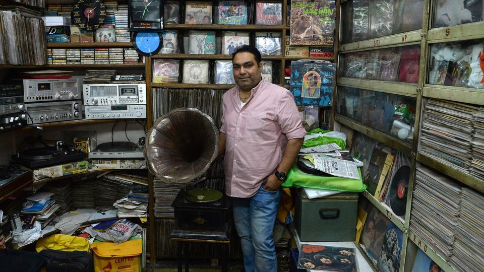 Syed Zafar Shah, 40, runs a gramophone repair operation and sells antique gramophones and vinyl records in Old Delhi, India. The primary way to replay audio recordings in the late 19th century, gramophones were steadily relegated to antique status, overtaken in the 20th century by turntables and audio speakers.  (Sajjad Hussain / AFP)