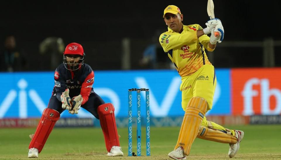 MS Dhoni, captain of Chennai Super Kings, hits a six against Delhi Daredevils in an Indian Prmeier league (IPL) 2018 match at the MCA Cricket Stadium, Pune on Monday.