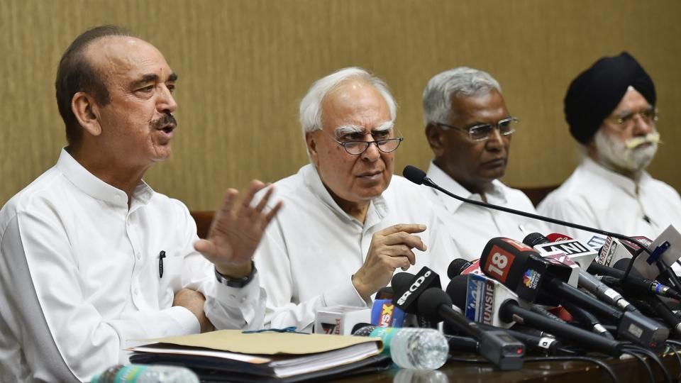 Opposition leaders, including Congress's Ghulam Nabi Azad, addresses a press conference after opposition parties submitted a notice to vice president and Rajya Sabha chairperson Venkaiah Naidu to initiate impeachment proceedings against Chief Justice of India Dipak Misra, in New Delhi.