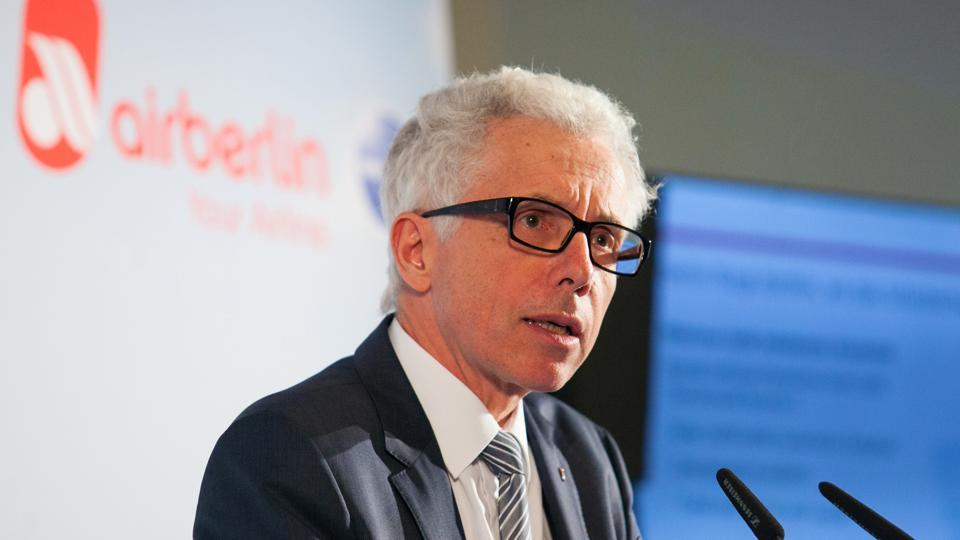 Wolfgang Prock-Schauer speaks during a news conference in Berlin.