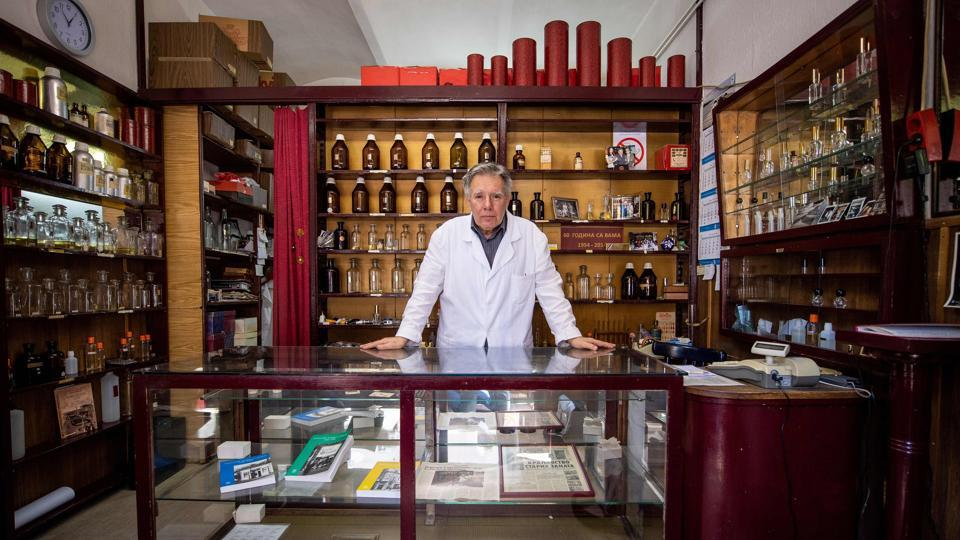 "Nenan Jovanov, 70, literally grew up in this 64 years old ""time capsule"" perfume shop as the third generation of a family business in Belgrade, Serbia. Nenad says, ""There used to be 23 perfume shops of this kind in Belgrade; now I am the only one left."" (Andrej Isakovic / AFP)"